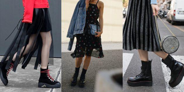 Женская обувь: Военные ботинки на платформе