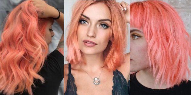 Модные цвета волос 2019года: живой коралл
