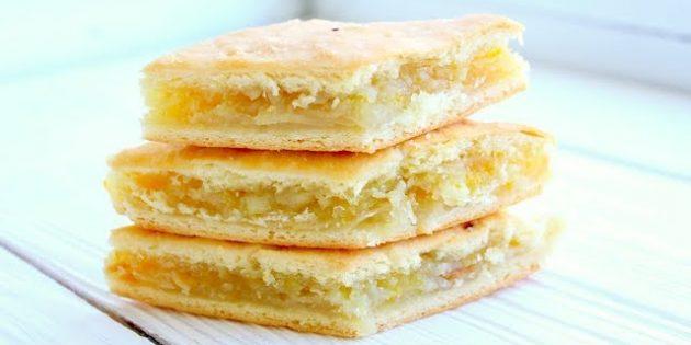 Лимонный пирог с миндалём на дрожжевом тесте