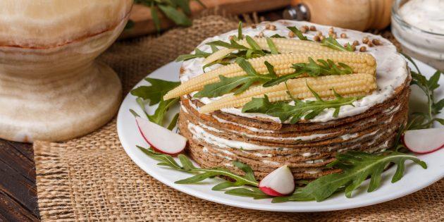Рецепты: торт из говяжьей печени с чесноком