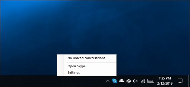 Программа Skype UWP не предусматривает в меню пункт «Выйти из Skype»
