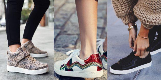 Модные кроссовки: Под рептилию