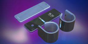Samsung запатентовала смартфон, оборачивающийся вокруг запястья