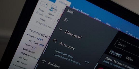 В «Почте» для Windows 10 появилась полноценная тёмная тема