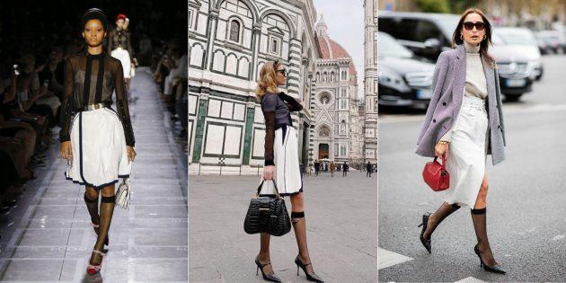 Модные аксессуары 2019года: акцентные чулки и гольфы