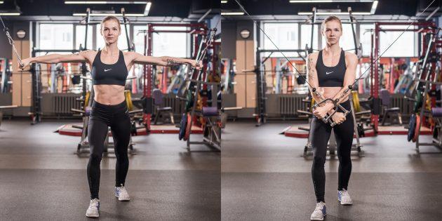 Упражнения на грудные мышцы: Чтобы сместить акцент на нижнюю часть мышцы, сводите руки внизу