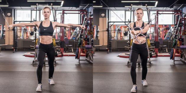 Упражнения на грудные мышцы: Сведение рук накрест в кроссовере