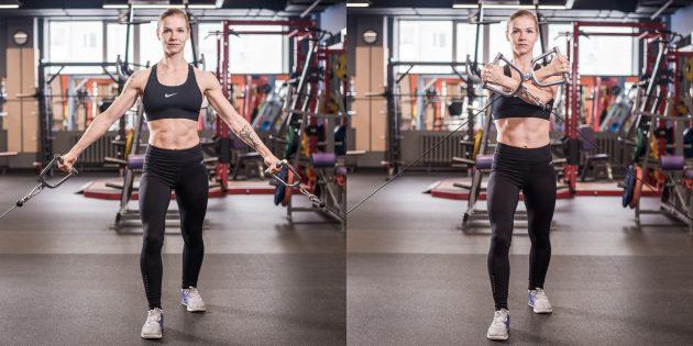 Упражнения на грудные мышцы: Чтобы нагрузить верхнюю часть, смените верхний блок на нижний