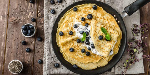 Как приготовить ажурные блины без яиц на молоке, кефире и воде