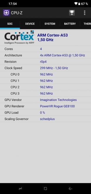 Doogee Y8: CPU-Z (SOC)