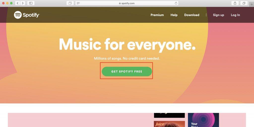 Как использовать Spotify в России: откройте сайтSpotify и нажмите кнопку Get Spotify free