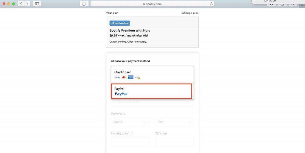 Как использовать Spotify в России: выберите метод оплаты PayPal и введите данные своего американского аккаунта
