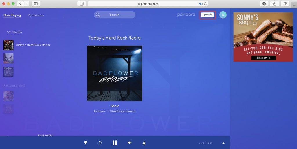 Как использовать Pandora в России: войдите в Pandora со своего аккаунта и нажмите кнопку Upgrade