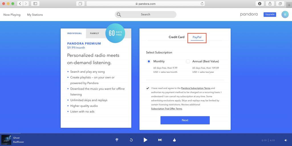 Как использовать Pandora в России: укажите оплату с помощью PayPal, выберите периодичность списания и поставьте галочку