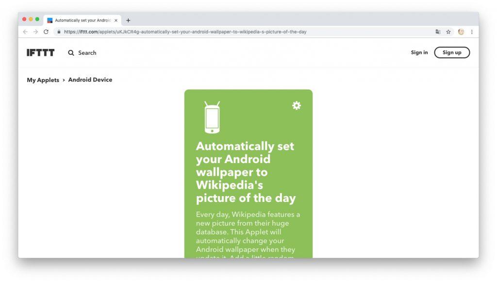 Автоматизация действий с помощью рецептов IFTTT: загружаем обои из «Википедии»