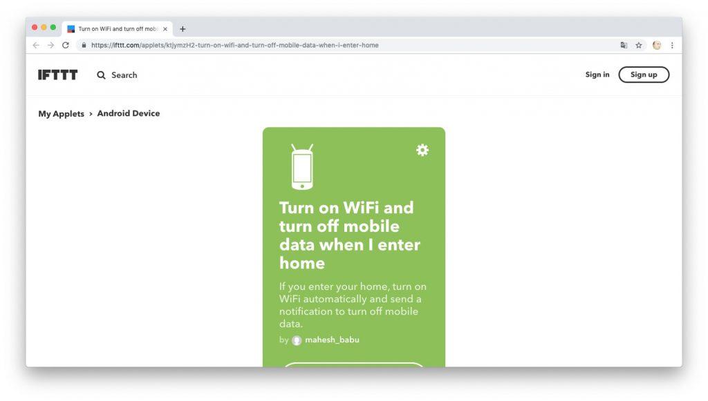 Автоматизация действий с помощью рецептов IFTTT: отключаем мобильный интернет, когда находимся дома
