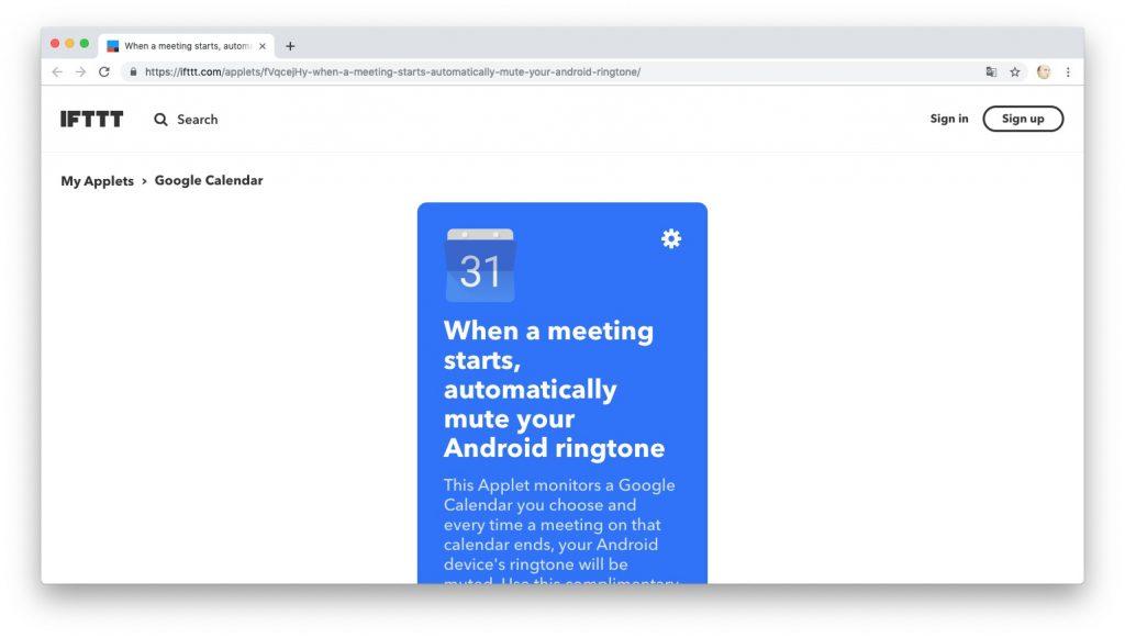 Автоматизация действий с помощью рецептов IFTTT: включаем режим «Не беспокоить» на важных встречах