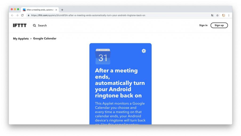 Автоматизация действий с помощью рецептов IFTTT: отключаем режим «Не беспокоить», когда встреча завершена