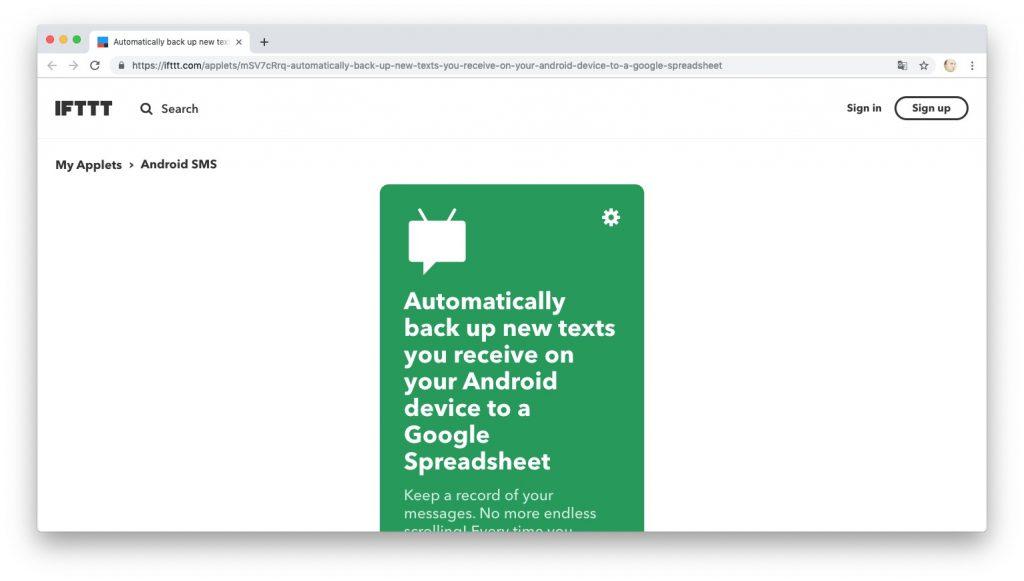 Автоматизация действий с помощью рецептов IFTTT: ведём журнал SMS-сообщений в Google Docs
