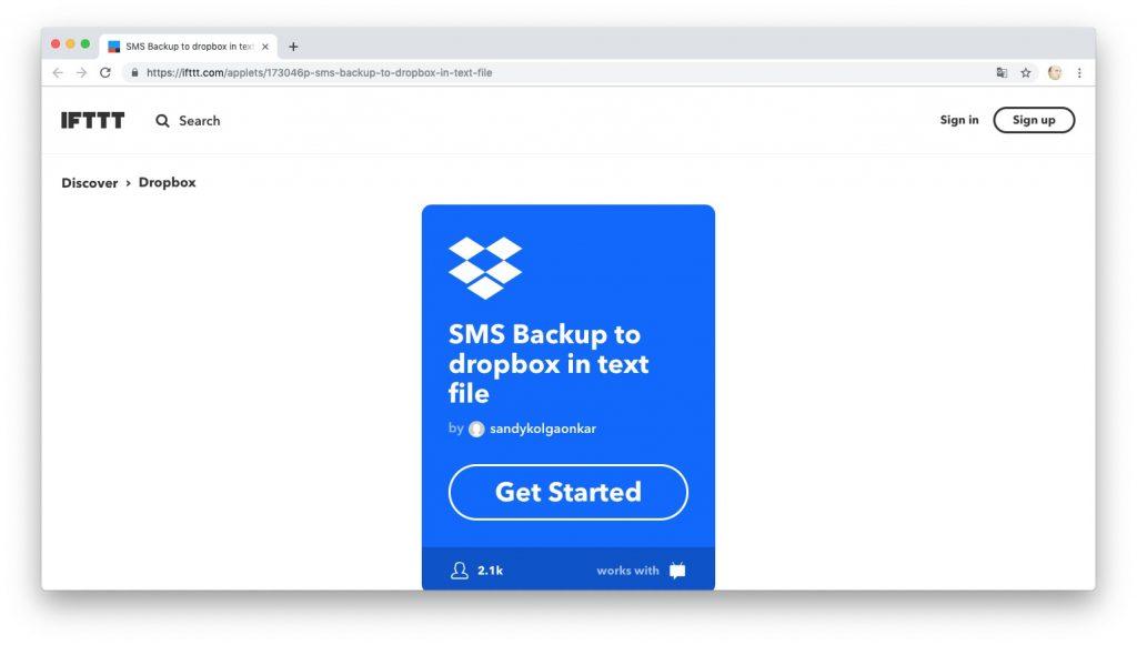 Автоматизация действий с помощью рецептов IFTTT: ведём журнал SMS-сообщений в Dropbox
