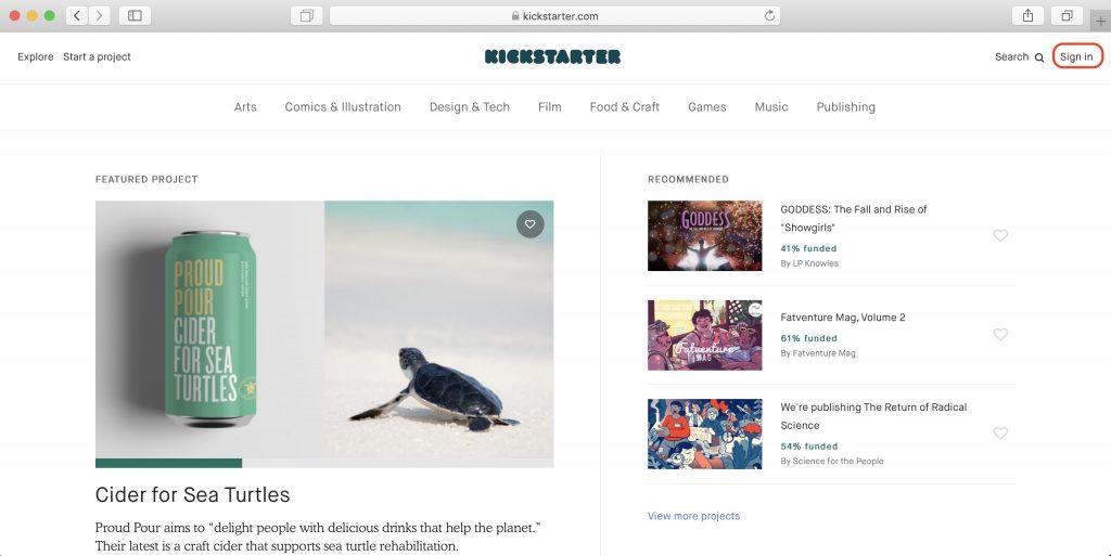 Как покупать наKickstarter: перейдите на сайт сервиса и нажмите Sign in