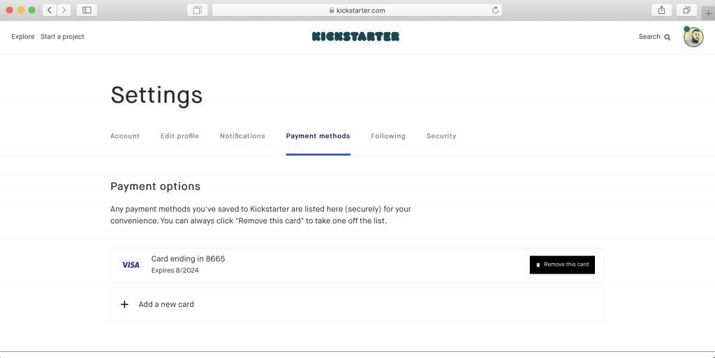 Как покупать наKickstarter: после этого карта появится в списке доступных методов оплаты