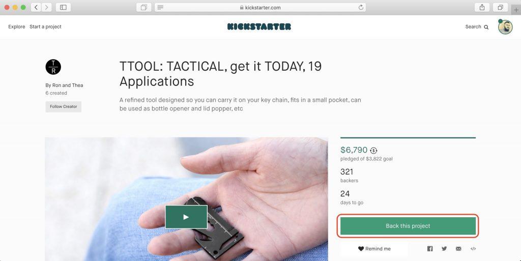 Как покупать наKickstarter: откройте страницу понравившегося проекта и ознакомьтесь с условиями кампании