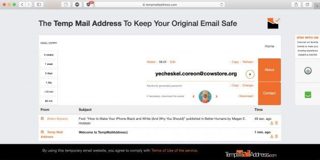 Временная почта Temp Mail Address