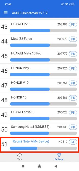 Redmi Note 7: Тест AnTuTu — 51место