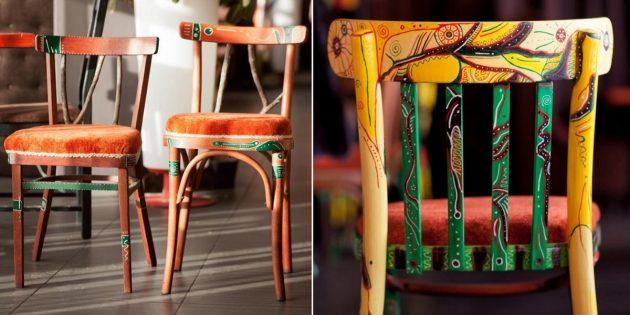 Реставрация мебели с Avito: обновлённые стулья