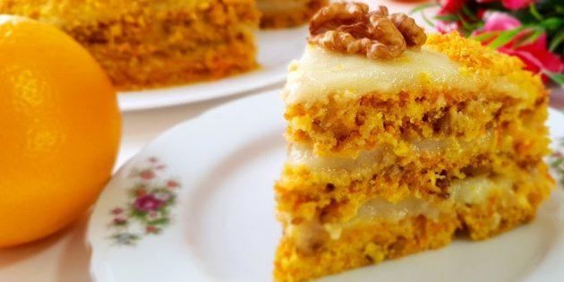 Морковный постный торт с орехами и апельсиновым кремом