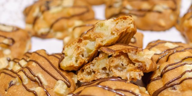 Постное печенье с яблоком и изюмом