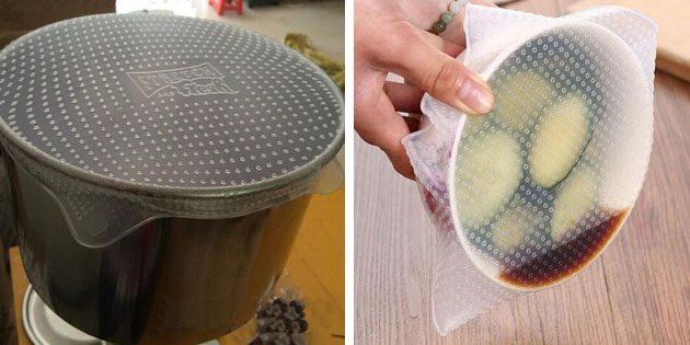 Силиконовая крышка для посуды