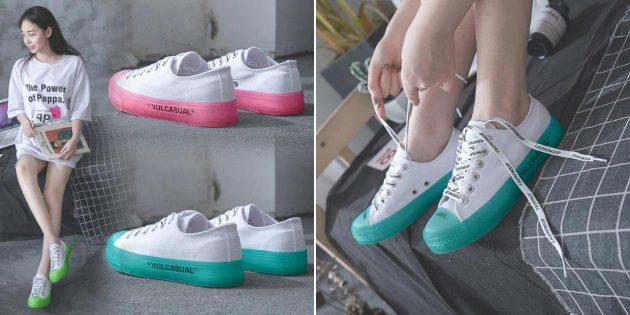 Кроссовки с цветной подошвой
