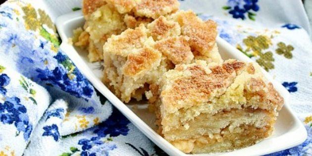 Постный насыпной пирог с яблоками