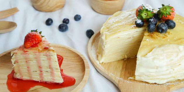 Блинный торт с творожным кремом: простой рецепт