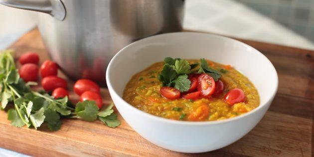 Густой пряный постный суп c чечевицей