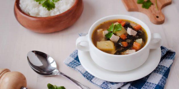 Постный суп с тофу и нори