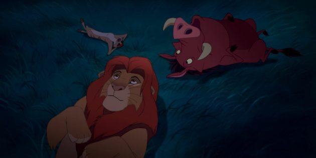 Мультфильм «Король Лев»: Симба, Тимон и Пумба лежат под ночным небом и размышляют о природе звёзд