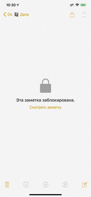 Защищённая запись в «Заметках» отмечена замком