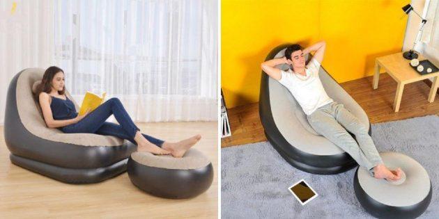 Надувные кресло и пуфик для ног