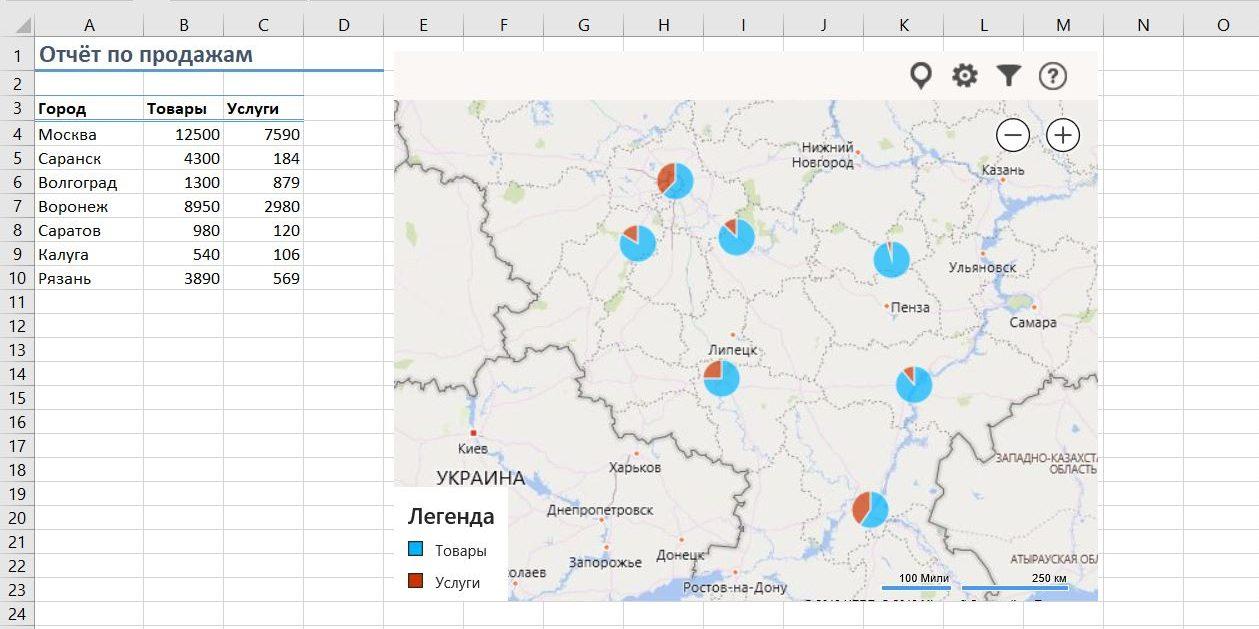 Отображение данных из таблицы Excel на карте