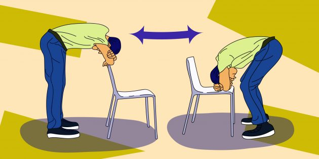 Стретчинг на работе: упражнение «Складочка вперёд»