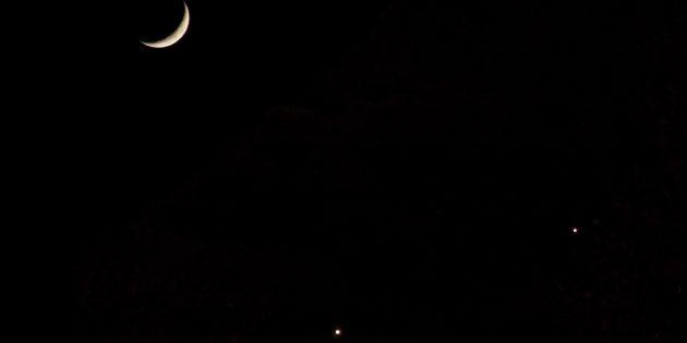 Звёздное небо: Юпитер, Луна и Венера