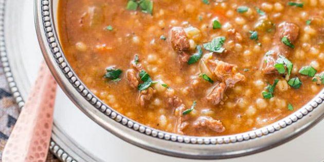 Суп из сельдерея с перловкой