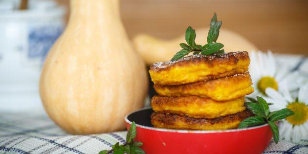 Постные оладьи с тыквой и бананом