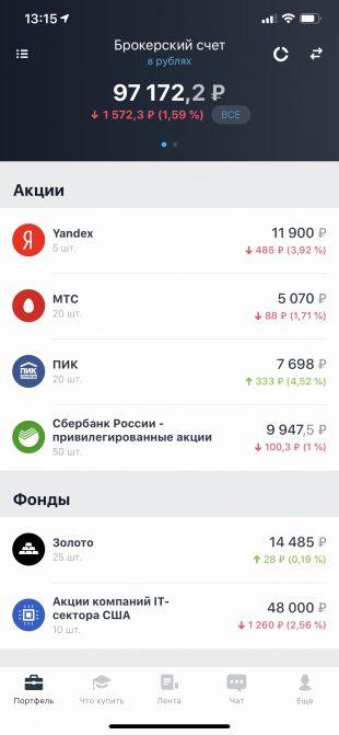 Приложение «Тинькофф Инвестиции»: акции и инвестиционные фонды