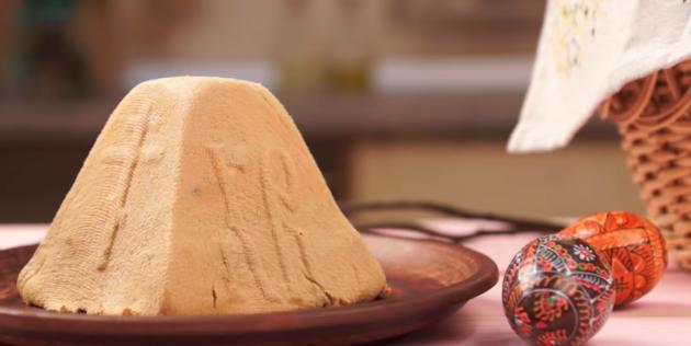 Сырая творожная пасха с варёной сгущёнкой