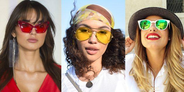 Женские солнцезащитные очки с линзами из цветного пластика
