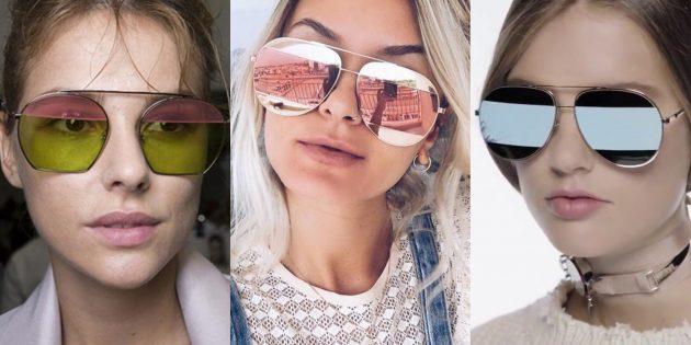 Женские солнцезащитные очки с двухцветными линзами